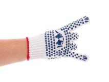 Amincissez le gant de travail avec le bouton bleu Photo stock