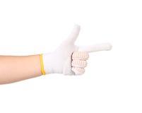 Amincissez le gant de travail comme une arme à feu Photos libres de droits