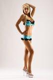 Amincissez le jeune modèle de lingerie dans rester de hauts talons Photo libre de droits