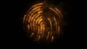 Aminierung des clorful Fingerabdruckes Animation des Auftrittes und Verschwinden des Fingerabdruckes mit Funken auf Schwarzem vektor abbildung