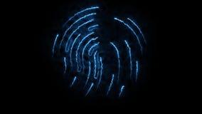 Aminierung des clorful Fingerabdruckes Animation des Auftrittes und Verschwinden des Fingerabdruckes mit Funken auf Schwarzem stock abbildung