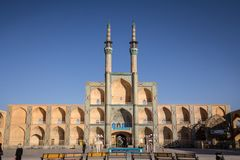 Amir Chakhmaq complex in summer. It is a mosque located on a square of the same name, and a major landmark of Yazd. Picture of the Amir Chakhmak mosque taken stock images