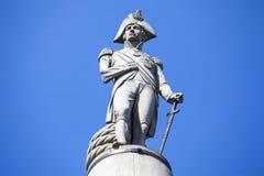 Amiral Nelson Statue sur la colonne du Nelson à Londres Photographie stock