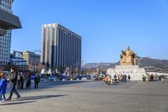 Amiral Yi Sun Sin de statue à la place de Gwanghwamun Image stock