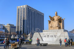 Amiral Yi Sun Sin de statue à la place de Gwanghwamun Photo stock