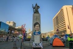 Amiral Yi Sun Sin de statue à la place de Gwanghwamun Photographie stock libre de droits