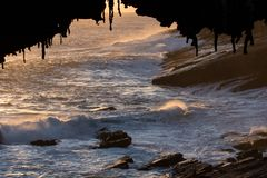 Amiraler välva sig i solnedgångljus i den sydliga delen av Flindersjaktnationalparken arkivfoton
