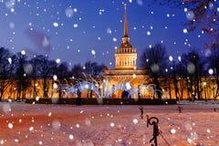 Amirauté à St Petersburg en hiver Photos libres de droits