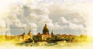 Amirauté et cathédrale de St Isaac à St Petersburg Images libres de droits
