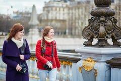 Amis à Paris sur le Pont Alexandre III Photographie stock