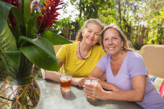 Amis âgés par milieu en Hawaï Image stock