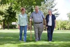 Amis aînés marchant en stationnement Image stock