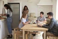 Amis adolescents dans la cuisine, faisant le travail et faisant la nourriture Photo stock
