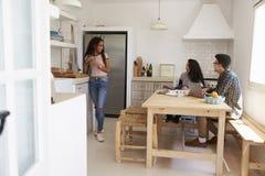 Amis adolescents traînant et étudiant ensemble dans la cuisine Photographie stock