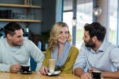 Amis agissant l'un sur l'autre tandis qu'ayez une tasse de café Image libre de droits