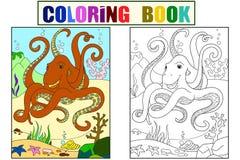 Amis animaux de bande dessinée de couleur et de coloration en nature Lignes noires, fond blanc Monde sous-marin, poulpe sur illustration de vecteur