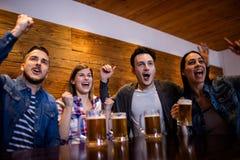 Amis appréciant avec des tasses de bière dans le restaurant Photos libres de droits