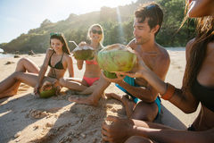 Amis appréciant des vacances de plage avec des noix de coco Images stock