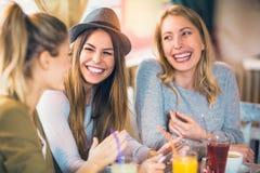 Amis appréciant en conversation et café potable Images libres de droits