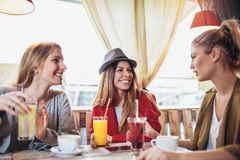 Amis appréciant en conversation et café potable en café Photographie stock libre de droits
