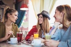 Amis appréciant en conversation et café potable en café Photo stock