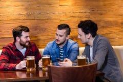 Amis appréciant la bière au restaurant Photographie stock
