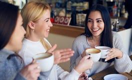 Amis appréciant la conversation et buvant du café au café Image stock