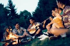 Amis appréciant la musique près du feu de camp Photo stock