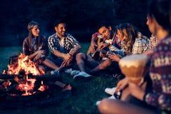 Amis appréciant la musique près du feu de camp Image stock