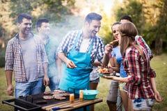 Amis appréciant la partie de BBQ Photo libre de droits