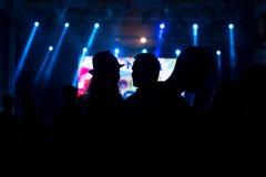 Amis appréciant le concert, les gens dansant à une partie Photos stock