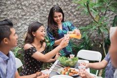 Amis appréciant le déjeuner dans le jardin Image stock