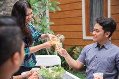 Amis appréciant le déjeuner dans le jardin Image libre de droits