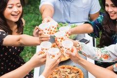 Amis appréciant le repas dans l'arrière-cour et les acclamations Image stock