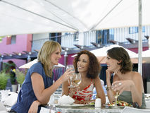 Amis appréciant le vin au café extérieur Images stock