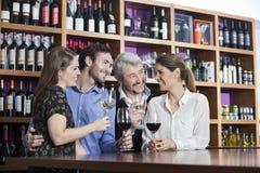 Amis appréciant le vin au compteur dans l'établissement vinicole Photos stock