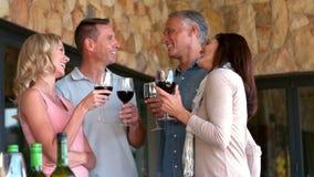 Amis appréciant le vin rouge ensemble dans le mouvement lent banque de vidéos