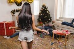 Amis après partie de nouvelle année Image stock