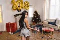 Amis après partie de nouvelle année Photographie stock