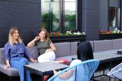 Amis assez féminins parlant au café et s'asseyant sur le sofa près de la fenêtre avec des fleurs Photographie stock libre de droits