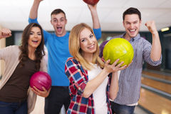 Amis au bowling Photo stock