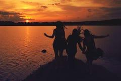 Amis au coucher du soleil Photographie stock libre de droits
