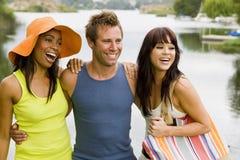 Amis au lac Photographie stock libre de droits