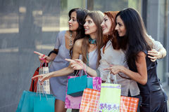 Amis aux achats Image stock