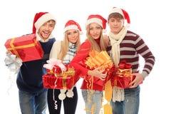 Amis avec des cadeaux Image libre de droits