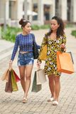 Amis avec des sacs à provisions Photos stock