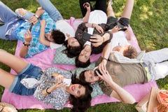 Amis avec des smartphones sur la couverture de pique-nique Images stock