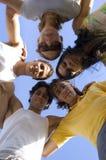 Amis avec des têtes ensemble Photographie stock libre de droits