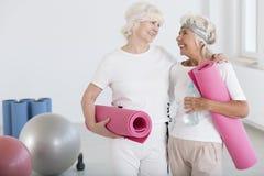 Amis avec des tapis d'exercice Image stock