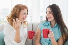 Amis avec des tasses de café conversant à la maison Images libres de droits